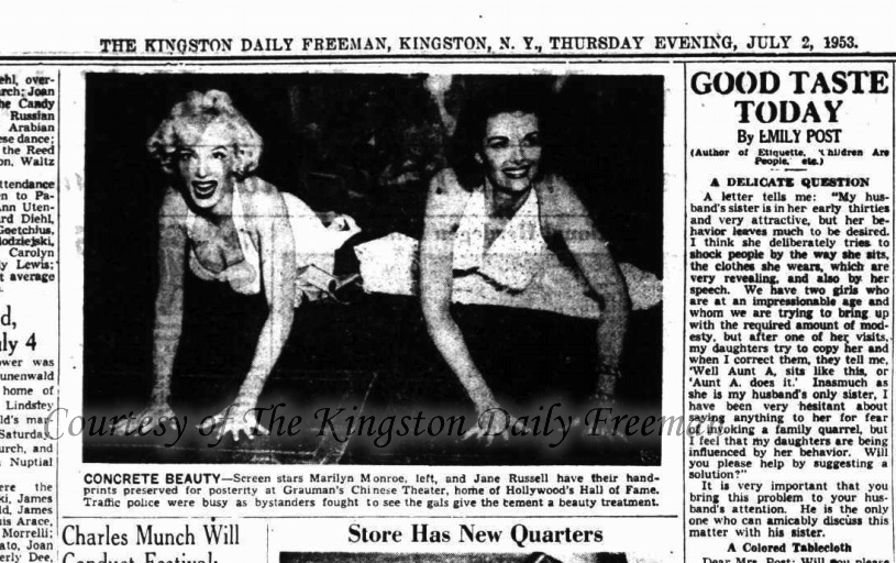 July 2, 1953 - Kingston, NY Daily Freeman Handprints- cropped