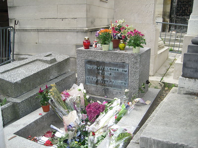 Jim Morrison's Crypt at Père Lachaise Cemetery in Paris, France. (Source: Wikipedia.org)