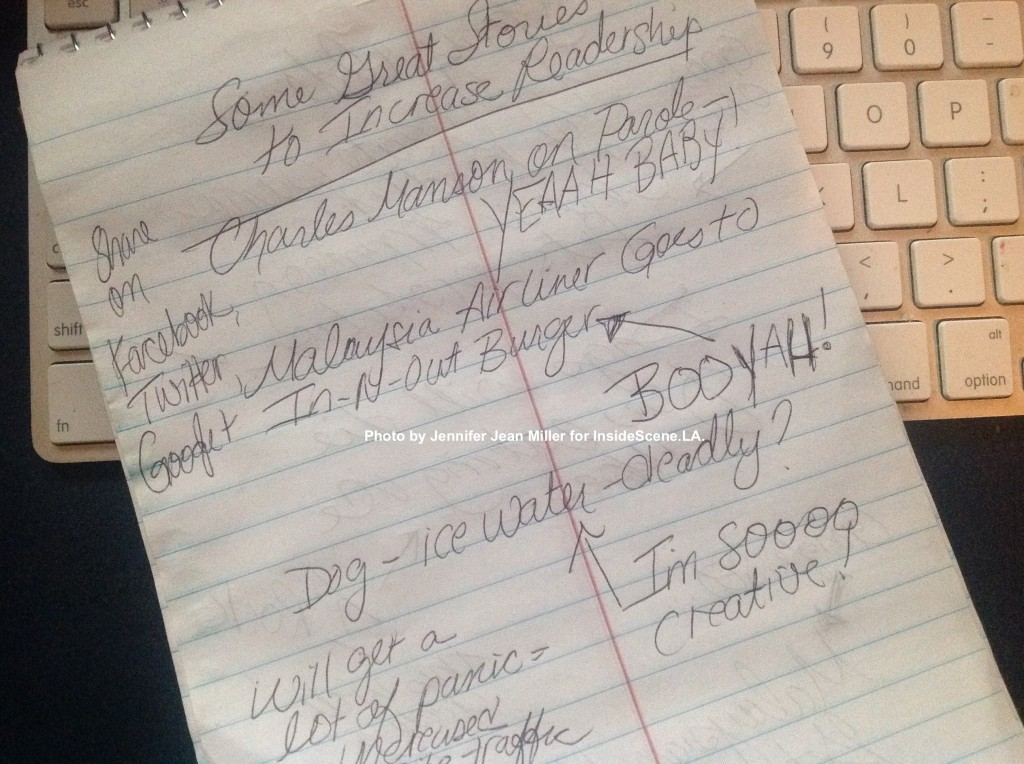 How I envision a Satire Reporter's notebook to look like. Photo by Jennifer Jean Miller for InsideScene.LA.