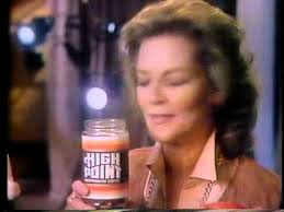 A screenshot from a High Point coffee commercial with Lauren Bacall.