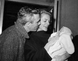 Lauren Bacall and Jason Robards with their son, Sam.