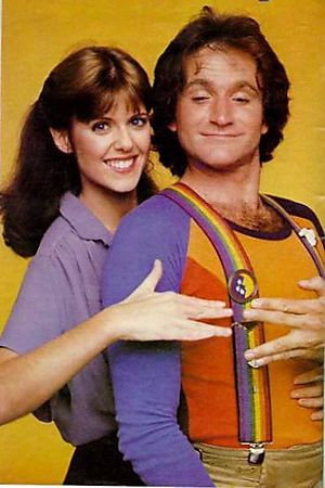 "With Pam Dawber, his ""Mork & Mindy"" co-star."