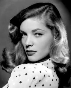 Portrait of a young and sultry Lauren Bacall.