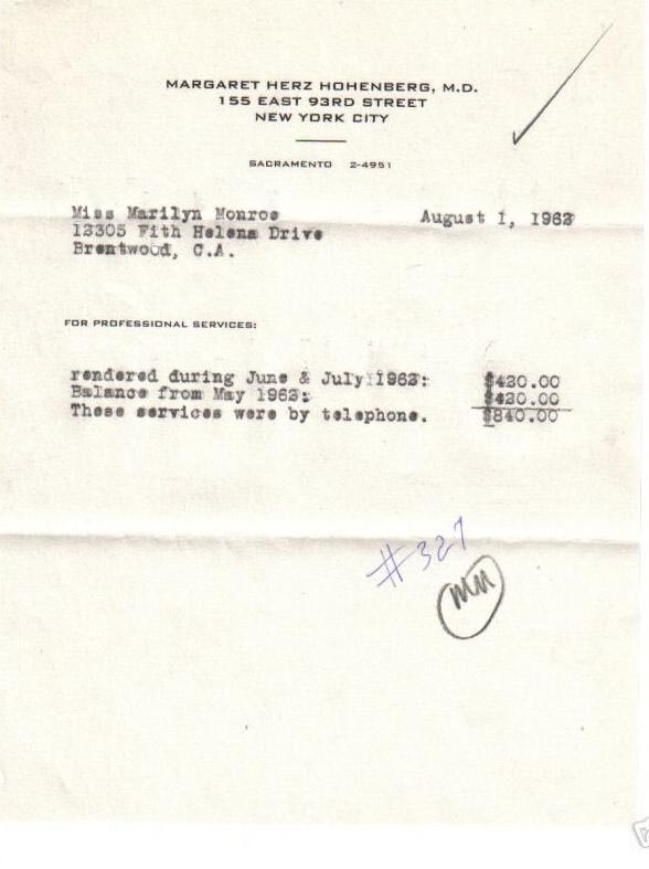 Hohenberg bill to Marilyn